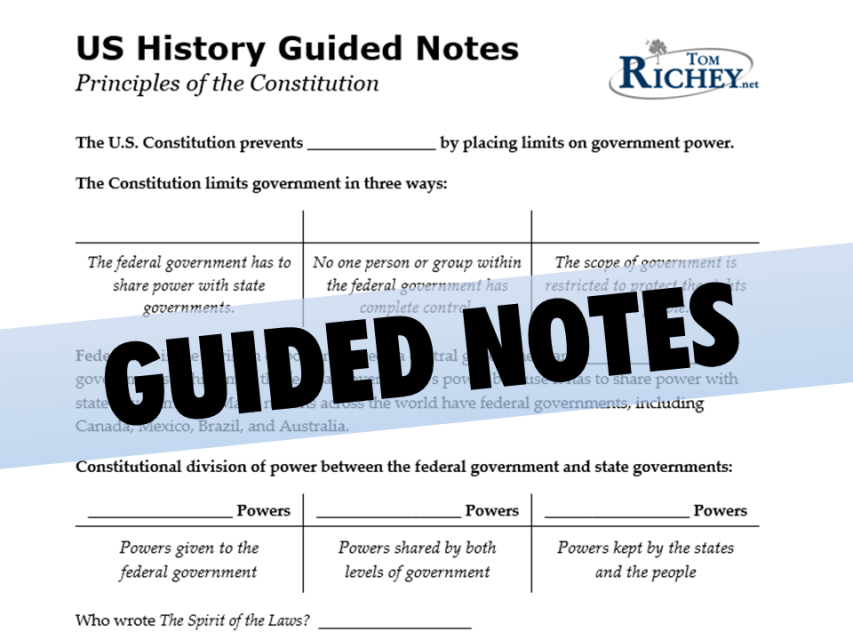 principles of the constitution  powerpoint with guided notes