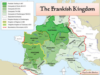 Map of the Frankish Kingdom from Clovis to Charlemagne