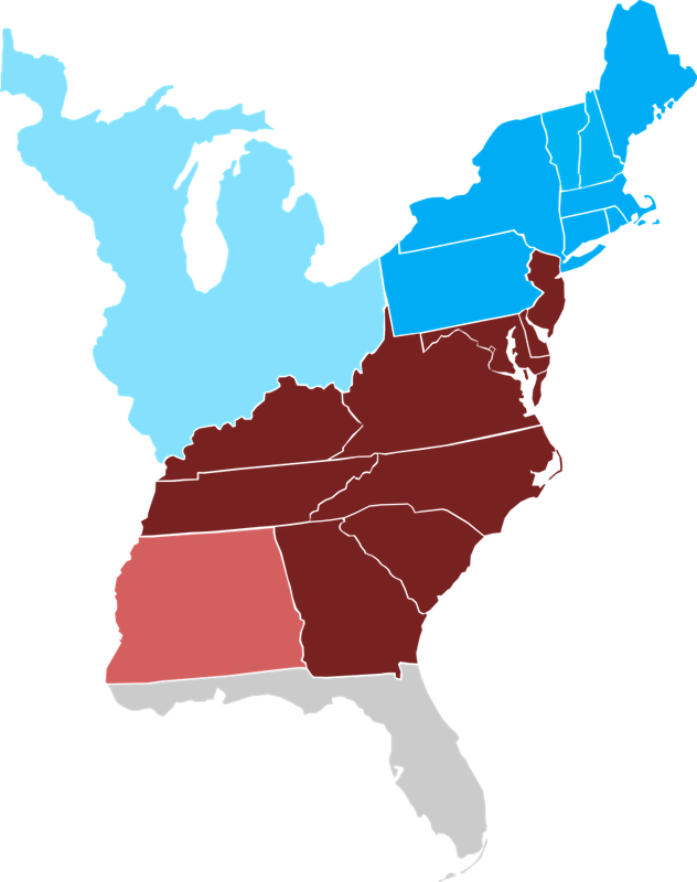 Slave States and Free States (1800)